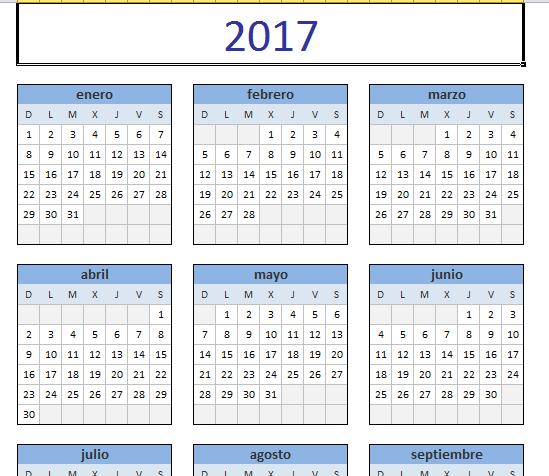 Descarga Calendario 2017 en Excel - fullseguridad