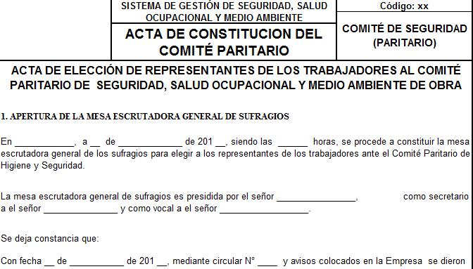 Acta de Constitución de Comité