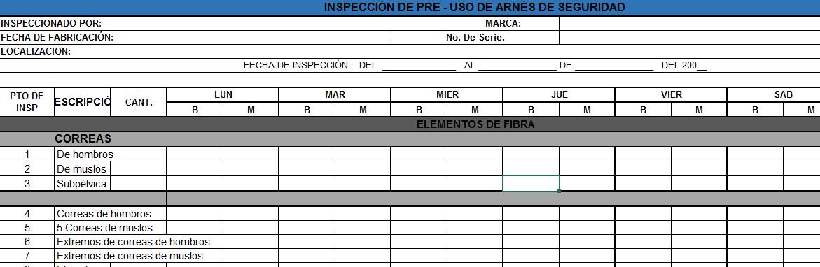 INSPECCIÓN DE ARNES DE SEGURIDAD